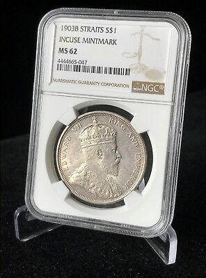 1903 -B Straits Settlements $1 Dollar, NGC MS62 UNC Very Rare Grade Silver Crown