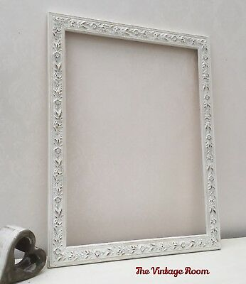 LARGE VINTAGE Ornate Shabby Chic Picture Frame Old White & Gold ...