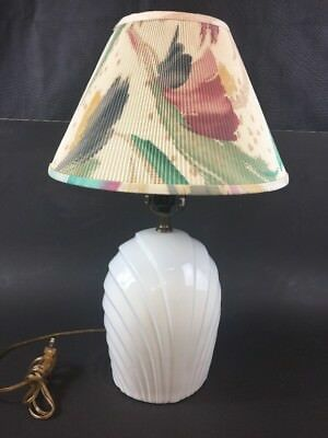 Vintage White Ceramic Lamp with Abstract Pattern Shade .