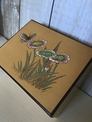 Antique Vintage Wooden Box 1950s Hand Painted