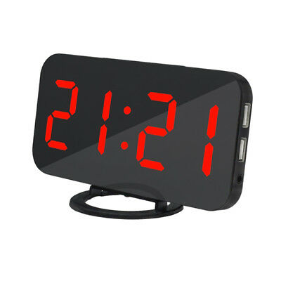 LED Digital Alarm Clock USB Port Phone Charging Snooze Bedsides Clock Red