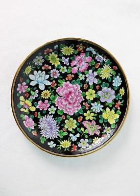 Beautiful Vintage Chinese Hand-Painted Plate W/ 100 Flowers: Enamel And Bronze