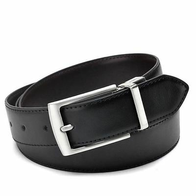 HIGH QUALITY Genuine Leather Reversible Double Sided Two Tone Belt Black Dark Br