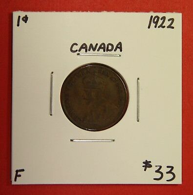 1922 Canada One Cent Penny Coin BC 26 - $33 F - Key Date