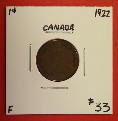 1922 Canada One Cent Penny Coin BC 27 - $33 F - Key Date