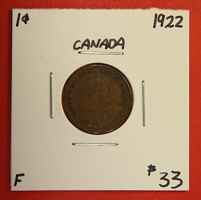1922 Canada One Cent Penny Coin BC 28 - $33 F - Key Date