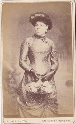 Antique Cdv  Photo -Lady  With Hat @ Basket Of Flowers. Spotty Dress. Londo Stud