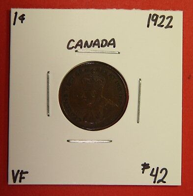 1922 Canada One Cent Penny Coin BC 33 - $42 VF - Key Date