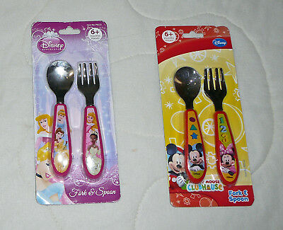 2pc Disney Baby Stainless Steel Utensil Set Fork Spoon Kids Toddler