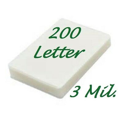 200 Letter 3 Mil Laminating Pouches Laminator Sheets 9 x 11-1/2 Scotch Quality