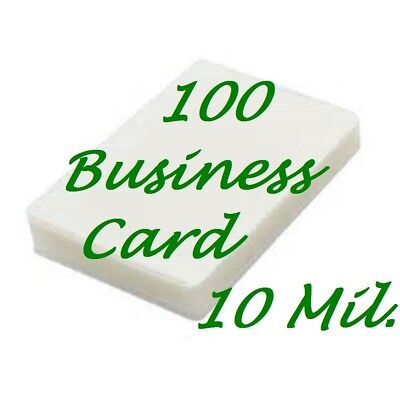 100 Business Card 10 Mil Laminating Pouches Laminator Sheets 2-1/4 x 3-3/4