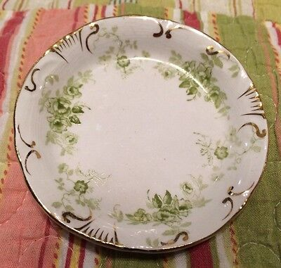 Meakin Vintage Lime Floral Butter Pat Royal Semi-Porcelain England Crown Mark