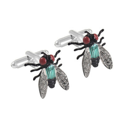 Solid Brass 1 Pair Fly Insect Cuff Links Mens Fancy Enamel Cufflinks Charms