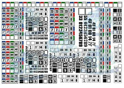 Racing Numbers - Squares & Circles | Model Decals in all popular scales