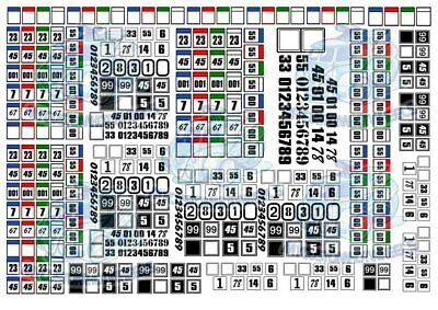 Racing Numbers - Squares & Circles | Waterslide Decals in all popular scales