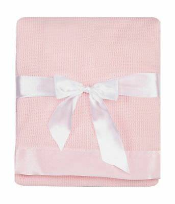 Thermal Waffle Weave Baby Blanket with Satin Nylon Trim (pink) ... 2DAY DELIVERY