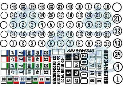 Racing Numbers - Round & Square | Waterslide Decals in all Scales up to 1/18