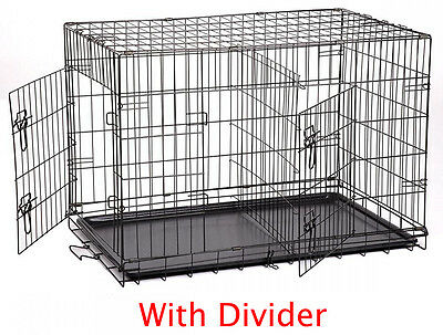 "NEW 48"" Extra Large Divider Folding Pet Dog Cage Crate Kennel Plastic Pan 856"