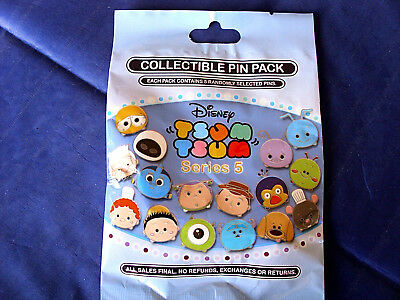 Disney* TSUM TSUM * Series 5 * New & Sealed * 5-pin Collectible Mystery Pin Pack