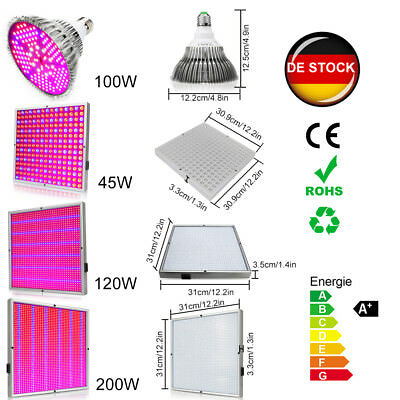 DE 45W 100W 120W 200W LED Grow Light Wachsen Licht VollSpektrum Veg Wuchs Blüte