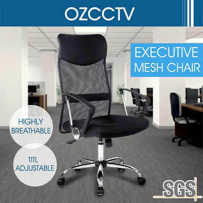PU Leather Executive Office Chair High Back Mesh Computer Desk Tilt Adjustment