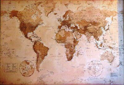 World Map Antique Style- Poster-Laminated available-90cm x 60cm-Brand New