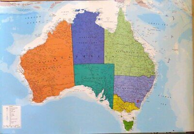 Australia Map-Political- Poster-Laminated available-91cm x 61cm-Brand New