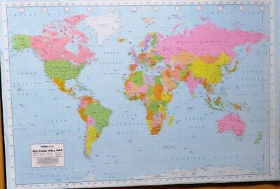 World Map - Political and Terrain- Poster-Laminated available-91cm x 61cm-Bra...