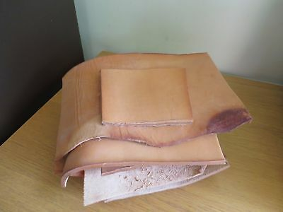 VEG TAN VERY THICK LEATHER OFF CUTS 5 - 7mm THICK - APPROX WEIGHT 2KG