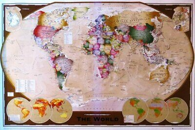 World Map Tripel style- Poster-Laminated available-90cm x 60cm-Brand New