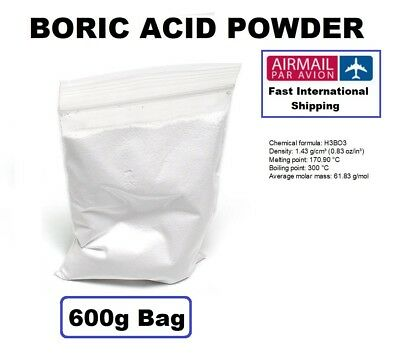 Boric Acid, 99.9% Pure, Kills Ants, Fleas, Cockroaches, Silverfish - 600g