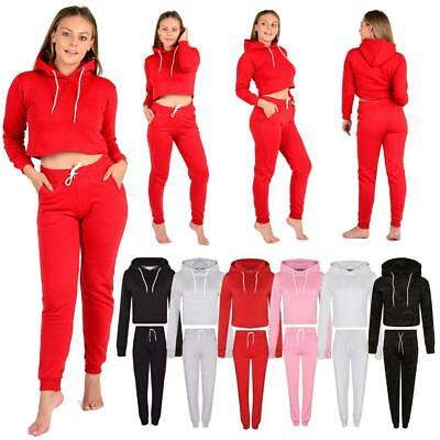 Women's Cropped Tracksuit Hoodies Trousers Plain Ladies Joggers Crop Top Bottom