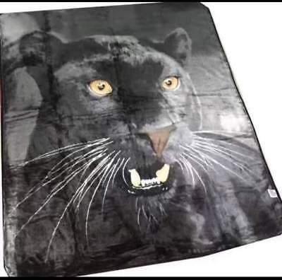 X Large Winter 1.5 x 2 Meter Plush Mink Blanket - Black Panther