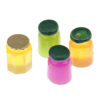 1/12 Scale Dollhouse Miniature Jam Jars Honey Food 4 Pots Set
