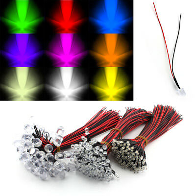 Lots of 3mm 5mm 10mm Pre-Wired Pre Wire LED Lamp Light Bulb Emitting Diode DC12V