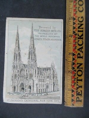 Victorian Trade Card Singer Sewing Machine St Patrick's Cathedral New York City