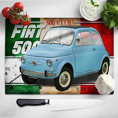 Personalised Fiat 500 Chopping Board Worktop Saver Classic Car Gift CL06