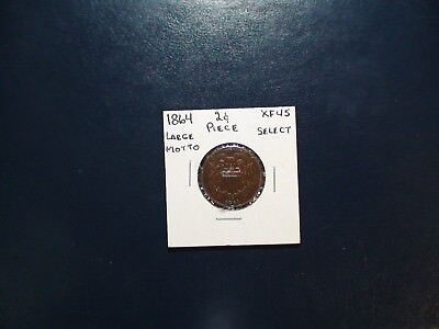 1864 LARGE MOTTO TWO CENT PIECE XF 2C Coin Auction Starts At 99 Cents!