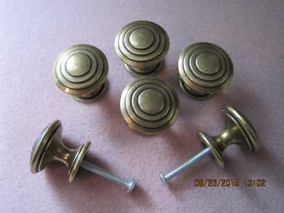 CUPBOARD HARDWARE Antique UNIQUE 6 Brass Knobs Patent Numbers