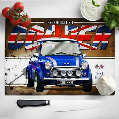 Personalised Mini Cooper Blue Chopping Board Worktop Saver Classic Car CL34