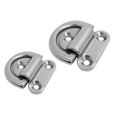 Small + Large Stainless Steel Boat Folding Pad Eye for Van Tie Down Pad