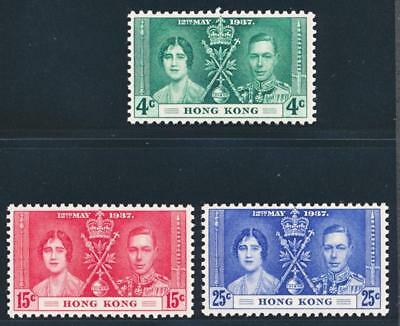 HONG KONG 151-153 MINT NH, KGVl 1937 CORONATION