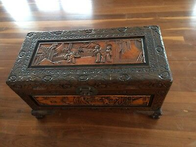 Antique Vintage Hand Carved champher Wood Chest