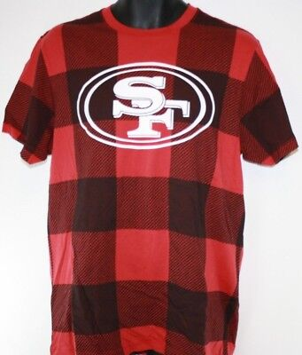 NEW Mens NFL San Francisco 49'ers '47 Brand Red Plaid Football Tee T-Shirt NWOT