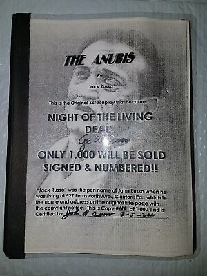 Signed John Russo George Romero Anubis Script Night of the Living Dead LE Zombie