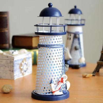Mediterranean Light House Iron Candle LED Light Anchor Home Table Decoration