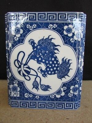 Vintage Antique Rectangular Blue & White Vase With Lid Foo Dog Design