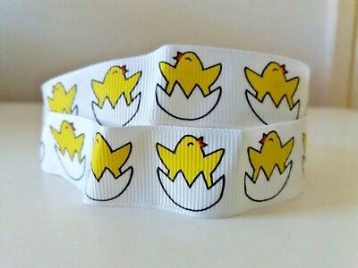 """1.5 yards 22mm (7/8"""")  wide WHITE/YELLOW EASTER CHICKEN GROSGRAIN PRINTED RIBBON"""