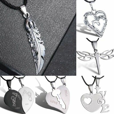 Silver Stainless Steel Heart Dragonfly Pendant Necklace Lover Men's Jewelry Gift