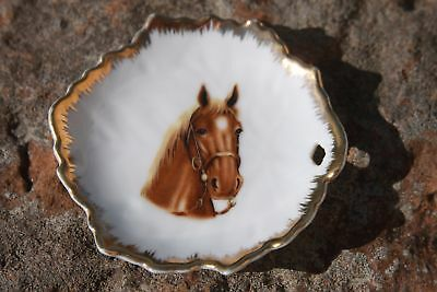 Vintage Napco Brown Horse Miniature Plate Dish Gold Trim Leaf Shaped 4 inch